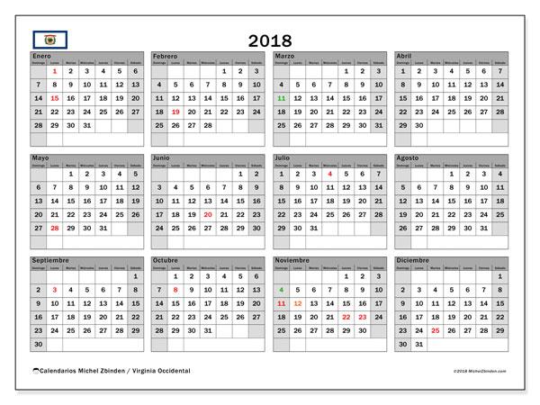 Calendario 2018, con los días feriados de Virginia Occidental. Planificación para imprimir gratis.