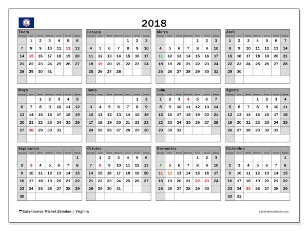 Calendario 2018, con los días feriados en Virginia. Planificación para imprimir gratis.