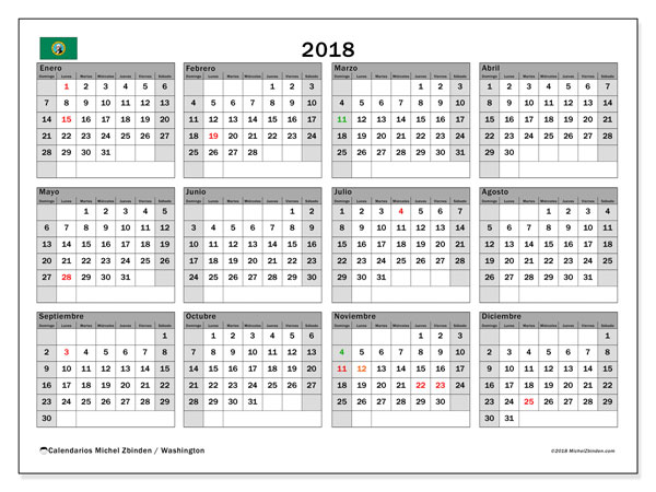 Calendario 2018, con los días feriados en Washington. Calendario imprimible gratis.