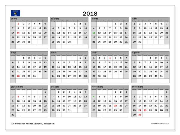 Calendario 2018, con los días feriados en Wisconsin. Planificación para imprimir gratis.