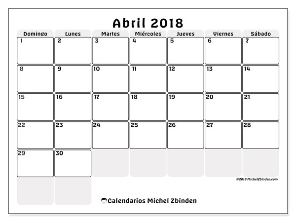 Calendarios abril 2018 (DS).  44DS.