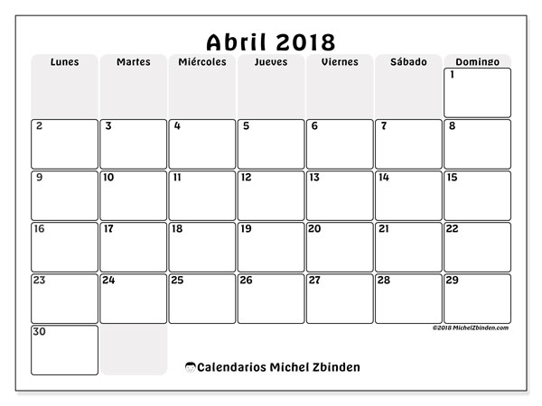 Calendarios abril 2018 (LD).  44LD.