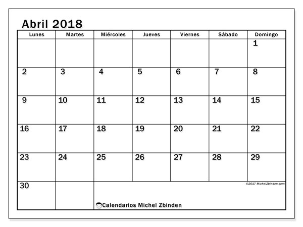 Calendarios abril 2018 (LD).  50LD.