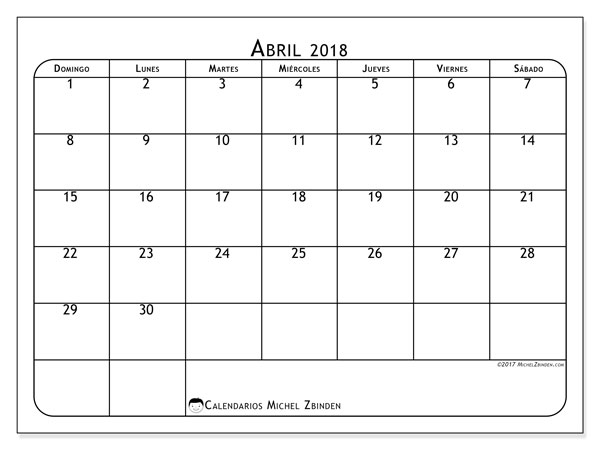 Calendarios abril 2018 (DS).  51DS.