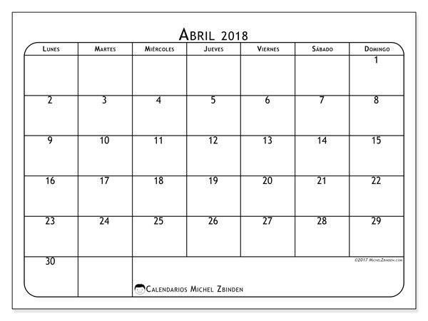 Calendarios abril 2018 (LD).  51LD.