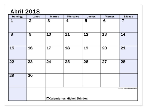 Calendarios abril 2018 (DS).  57DS.