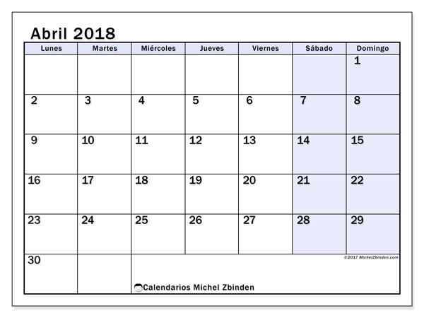 Calendarios abril 2018 (LD).  57LD.