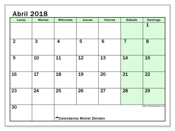 Calendarios abril 2018 (LD).  60LD.