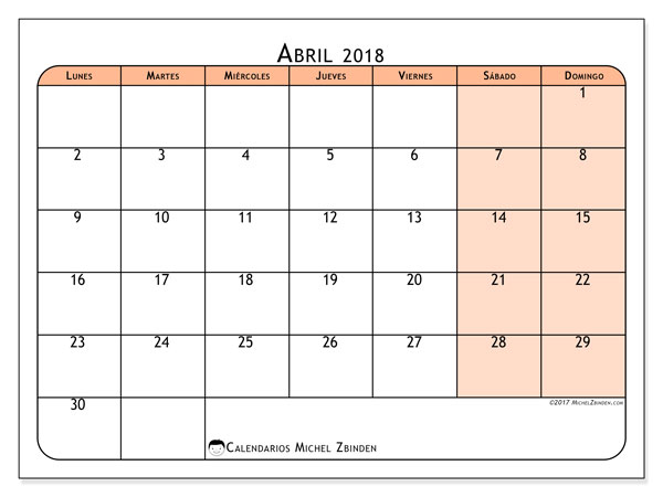 Calendario abril 2018 (61LD). Calendario para imprimir gratis.