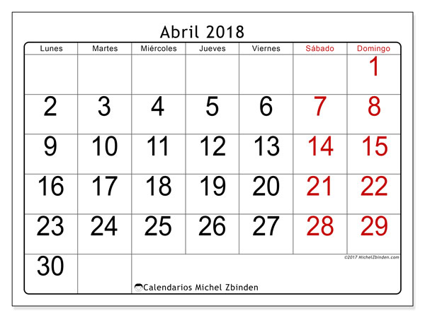 Calendario abril 2018 (62LD). Calendario para imprimir gratis.