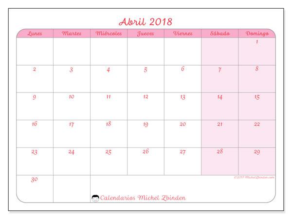 Calendario abril 2018 (63LD). Calendario para el mes para imprimir gratis.