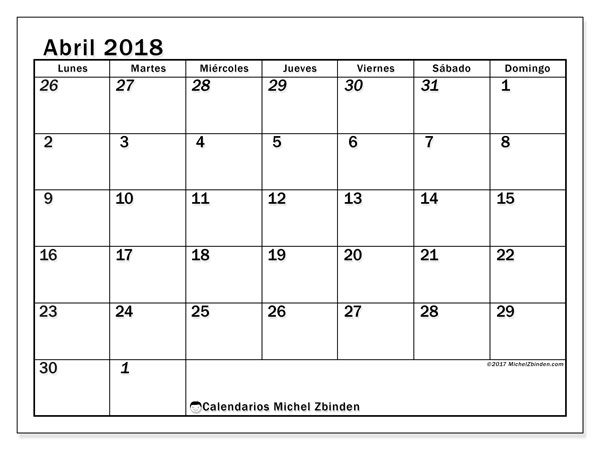 Calendarios abril 2018 (LD).  66LD.