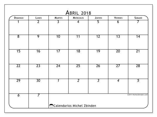 Calendarios abril 2018 (DS).  67DS.