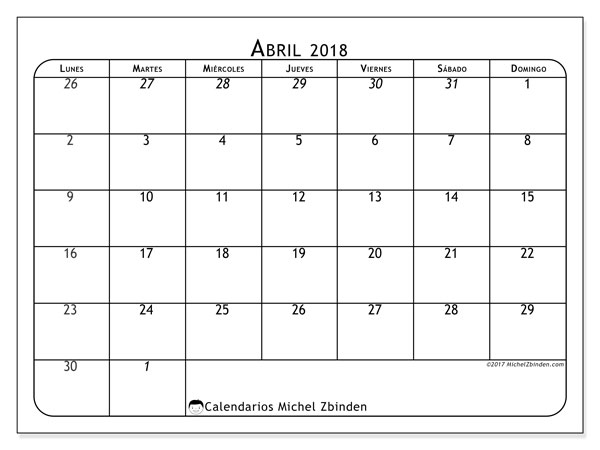 Calendario abril 2018 (67LD). Calendario imprimible gratis.