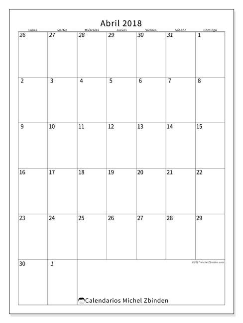 Calendario abril 2018 (68LD). Calendario para imprimir gratis.