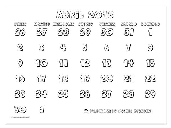 Calendario abril 2018 (71LD). Calendario para imprimir gratis.