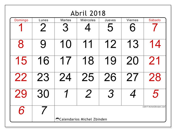 Calendarios abril 2018 (DS).  72DS.