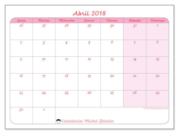 Calendarios abril 2018 (LD).  76LD.