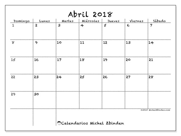 Calendarios abril 2018 (DS).  77DS.