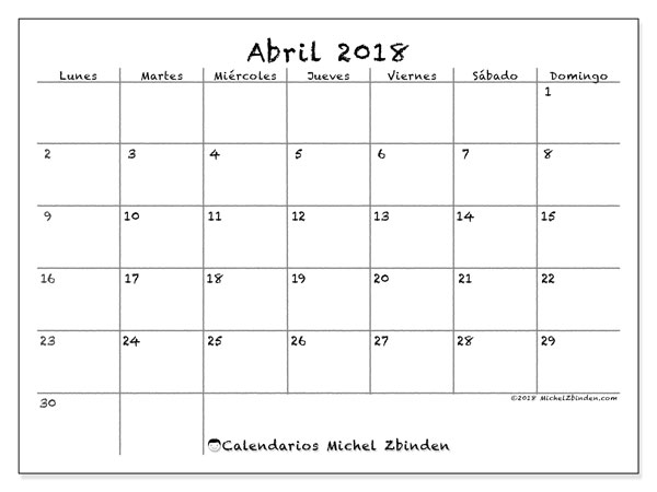 Calendarios abril 2018 (LD).  77LD.