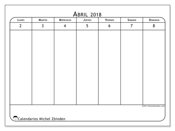 Calendario abril 2018 (90LD). Calendario para imprimir gratis.
