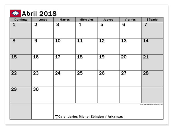 Calendario abril 2018, con los días feriados de Arkansas. Calendario gratuito para imprimir.