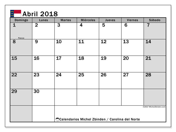 Calendario abril 2018, con los días feriados en Carolina del Norte. Calendario gratuito para imprimir.