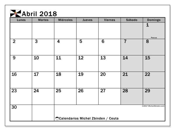 Calendario abril 2018, con los días festivos de Ceuta. Calendario imprimible gratis.