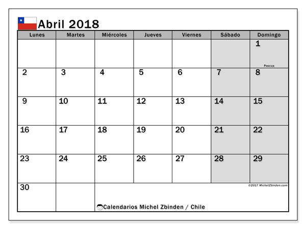 Calendario abril 2018, con los días feriados para Chile. Calendario para el mes para imprimir gratis.
