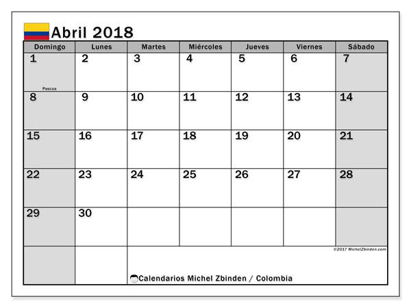 Calendario abril 2018, con los días festivos en Colombia. Calendario gratuito para imprimir.
