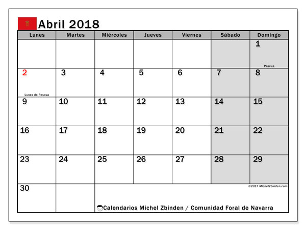 Calendario abril 2018, con los días festivos para la Comunidad Foral de Navarra. Almanaque para imprimir gratis.