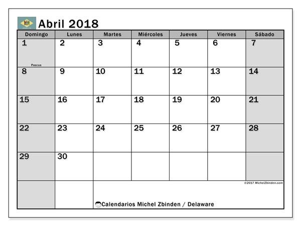 Calendario abril 2018, con los días feriados de Delaware. Calendario imprimible gratis.