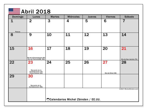 Calendario abril 2018, con los días feriados en EE.UU.. Calendario mensual para imprimir gratis.