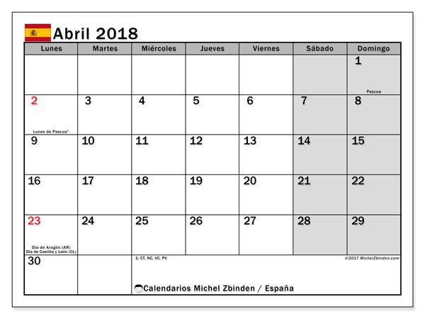 Calendario abril 2018, con los días festivos de España. Calendario imprimible gratis.