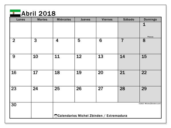 Calendario abril 2018, con los días festivos de Extremadura. Almanaque para imprimir gratis.