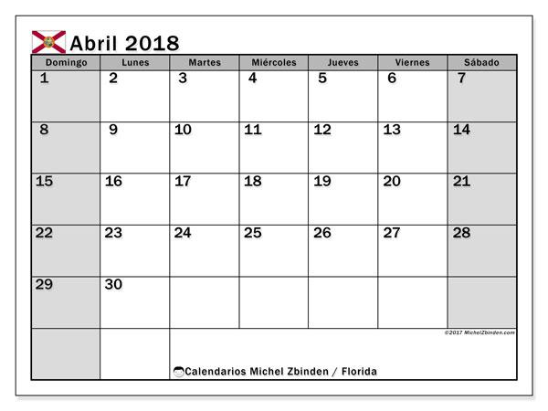 Calendario abril 2018, con los días feriados en Florida. Planificación para imprimir gratis.