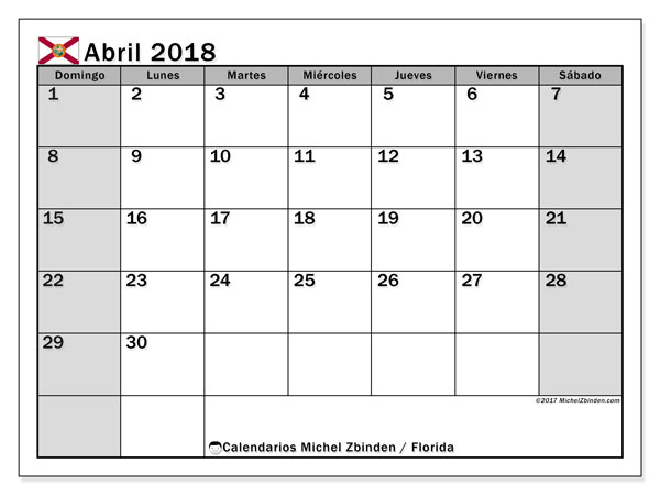 Calendario abril 2018, con los días feriados en Florida. Calendario imprimible gratis.