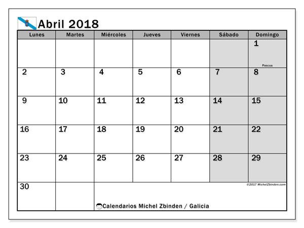 Calendario abril 2018, con los días festivos en Galicia. Calendario mensual para imprimir gratis.