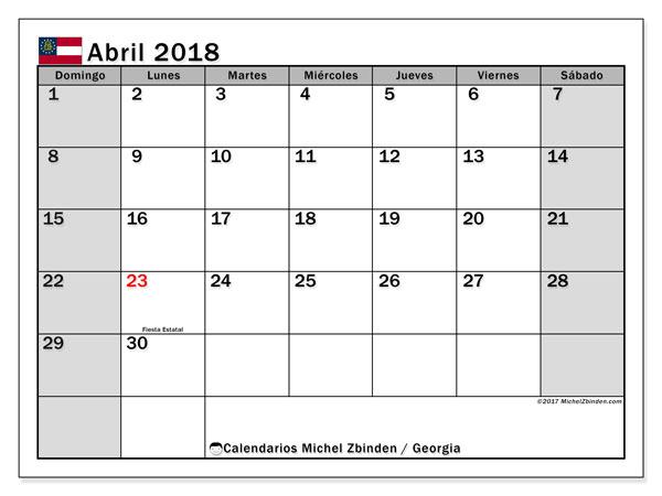 Calendario abril 2018, con los días feriados de Georgia. Calendario imprimible gratis.