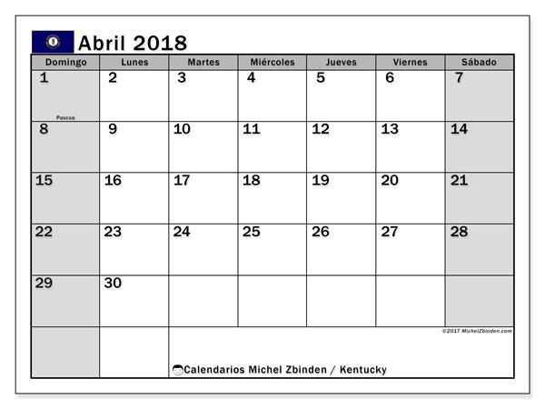 Calendario abril 2018, con los días feriados en Kentucky. Calendario imprimible gratis.
