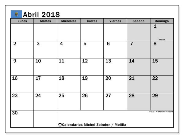 Calendario abril 2018, con los días festivos de Melilla. Calendario gratuito para imprimir.