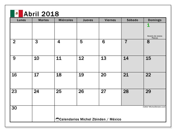 Calendario abril 2018, con los días feriados en México. Almanaque para imprimir gratis.