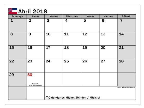 Calendario abril 2018, con los días feriados de Misisipi. Calendario imprimible gratis.