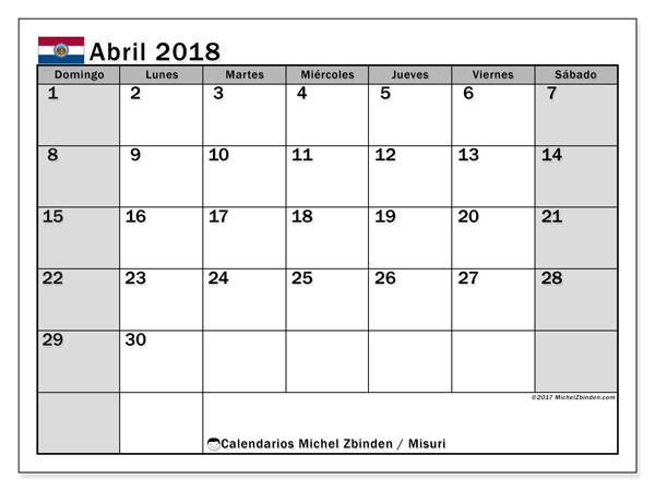 Calendario abril 2018, con los días feriados de Misuri. Calendario gratuito para imprimir.