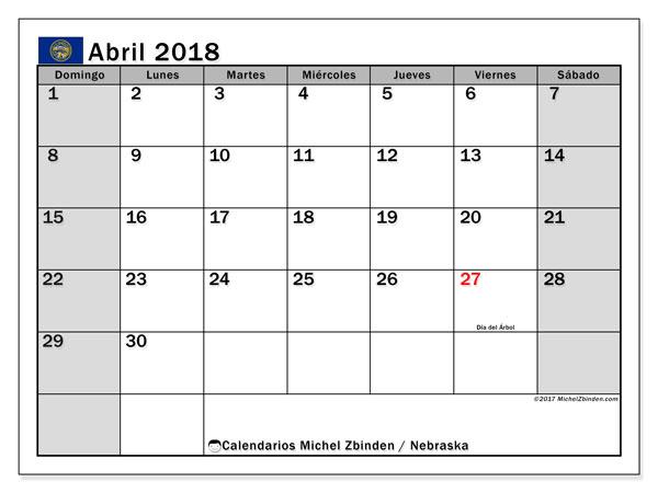 Calendario abril 2018, con los días feriados en Nebraska. Almanaque para imprimir gratis.