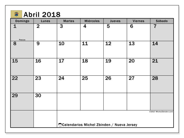 Calendario abril 2018, con los días feriados de Nueva Jersey. Calendario mensual para imprimir gratis.
