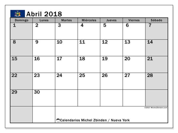 Calendario abril 2018, con los días feriados de Nueva York. Calendario gratuito para imprimir.