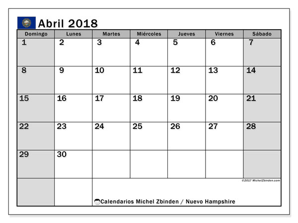 Calendario abril 2018, con los días feriados de Nuevo Hampshire. Calendario imprimible gratis.