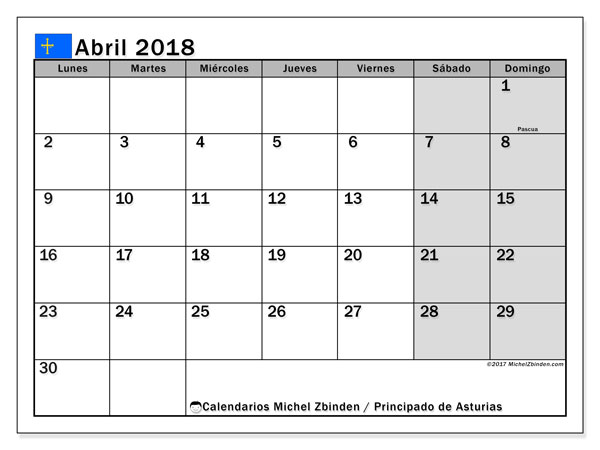 Calendario abril 2018, con los días festivos del Principado de Asturias. Planificación para imprimir gratis.