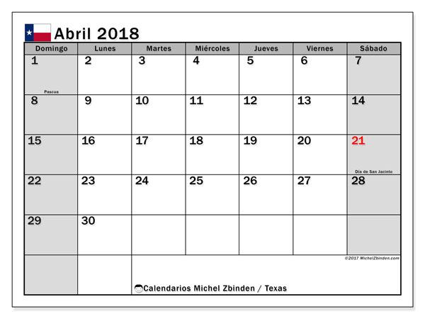 Calendario abril 2018, con los días feriados en Texas. Almanaque para imprimir gratis.